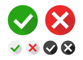 Check mark icons set. Tick and cross checkmarks icons with shadow. Vector illustration.