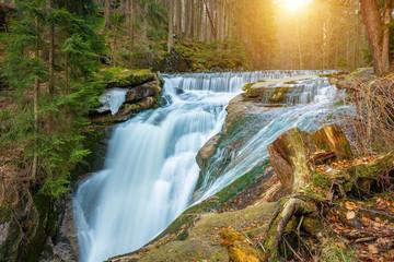 Obraz River in the forest, Szklarki waterfall, Karkonosze, Poland - fototapety do salonu