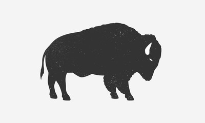 Bison icon silhouette with grunge texture. Buffalo silhouette isolated on white background. Vector illustration