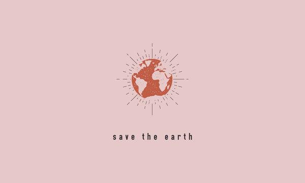 Save the Earth - trendy textured poster. Minimal modern design. Vector illustration