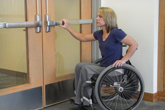 Opening Doors - Woman in Wheelchair