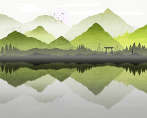 Aluminium Prints Dark grey Oriental Japanese landscape, with reflection of mountains in lake, and mist forming over water. Lone fisherman silhouette and archway on the banks of the lake. Processed in graduated green tones.