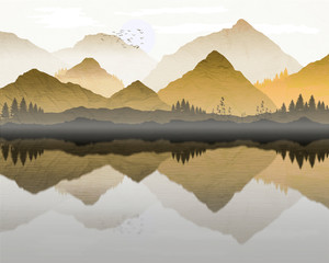 Aluminium Prints Dark grey Oriental Japanese landscape, with reflection of mountains in lake, and mist forming over water. Processed in graduated orange and yellow tones, with background texture.