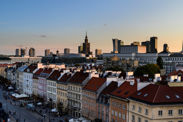Sunset over Warsaw downtown