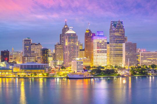 Detroit skyline in Michigan, USA at sunset