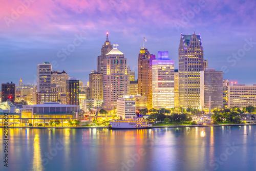 Fotomurales Detroit skyline in Michigan, USA at sunset
