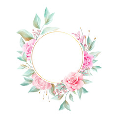 Round watercolor flowers frame for wedding or greeting card composition. Floral illustration of soft roses, peonies, leaf, branches. Wedding invitation flower decoration background