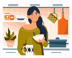 Young woman having breakfast in her kitchen with cereal and coffee in a Daily Life concept , colorful vector cartoon illustration