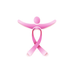 Breast Cancer Awareness Woman Ribbon. Realistic pink person ribbon isolated satin color and shadows. Vector Logo design