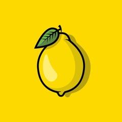 Lemon icon. Fruit isolated on background. Vector flat design
