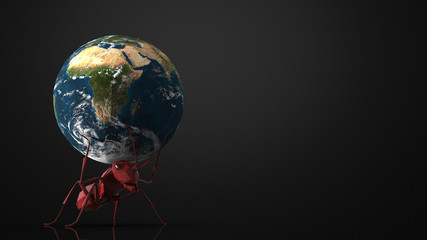 The big red ant carrying big world above head on ramp dark background with 3d rendering.