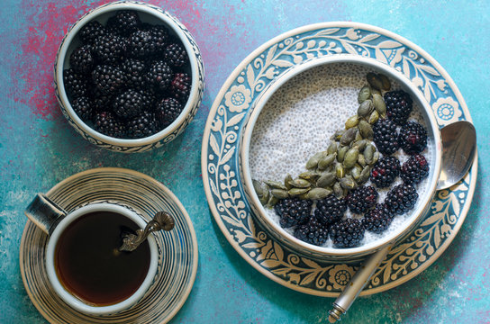 Blackberry and Pumpkin Seed Chia Pudding