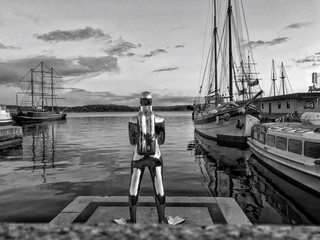 Foto op Aluminium Historisch mon. Statue at harbor against cloudy sky