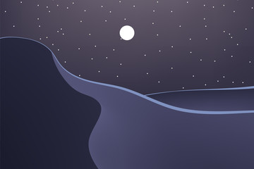 Foto auf Acrylglas Aubergine lila Nature at night. Beautiful desert. Outdoor vector illustration design. Beautiful landscape.
