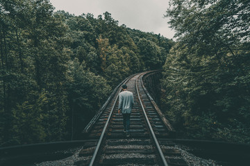 Rear view of man walking on railroad track passing through trees