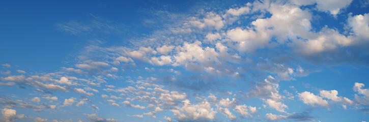 Wallpaper broken clouds and blue sky panoramic.