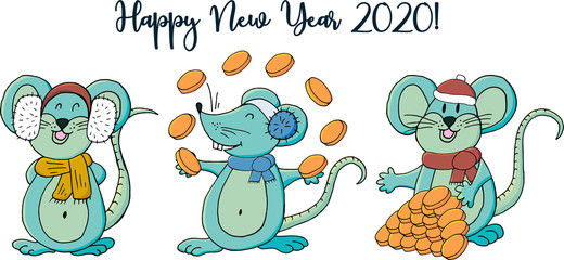 Happy New Year 2020. Banner, flyer, Happy New Year