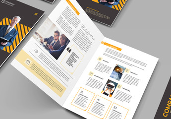 Bifold Brochure Layout with Orange Accents