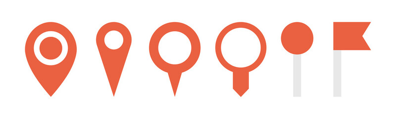 Location red pointers set. Vector illustration.