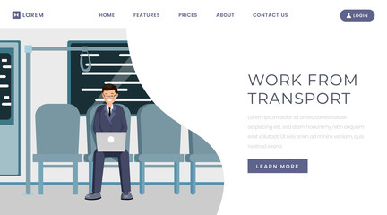 Work from transport landing page template. Distance, remote job website, webpage concept design with flat illustration. Man freelancer working with laptop in metro train color cartoon character