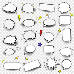 Set of empty comic style speech bubles.Design elements for poster, t shirt, banner. Vector image