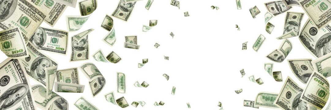 Money stack. Hundred dollars of America. Falling money isolated,