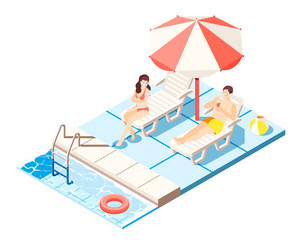 Waterpark Isometric Composition
