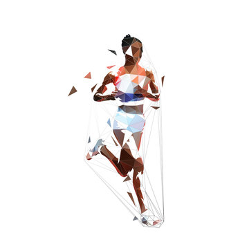 Running woman, abstract low polygonal isolated vector illustration. Geometric african american runner, side view