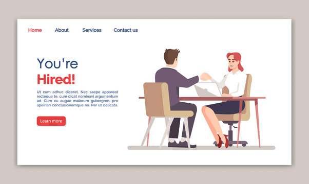 You are hired landing page vector template. HR agency website interface idea with flat illustrations. Recruitment homepage layout. Successful job interview web banner, webpage cartoon concept