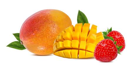 Fototapete - Strawberry and mango isolated on white background