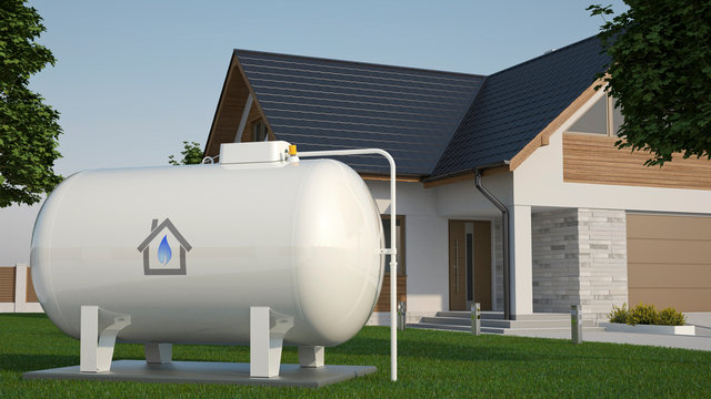 Gas Tank near house, 3D illustration