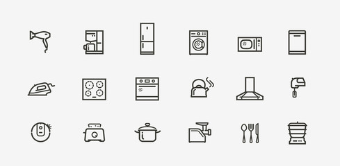 Household appliances icon set. Technology in linear style. Vector illustration