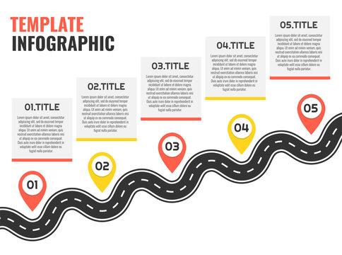 Navigation winding road vector way map infographic. Road infographic template. Vector illustration.