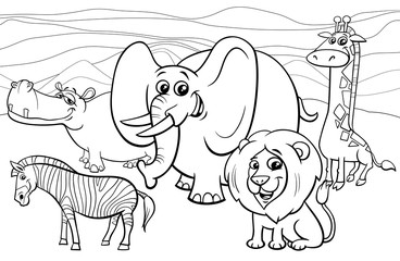 Fototapete - African animals cartoon coloring book
