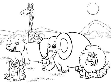 cartoon safari animals group coloring page