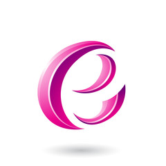 Magenta Glossy Crescent Shape Letter E Illustration