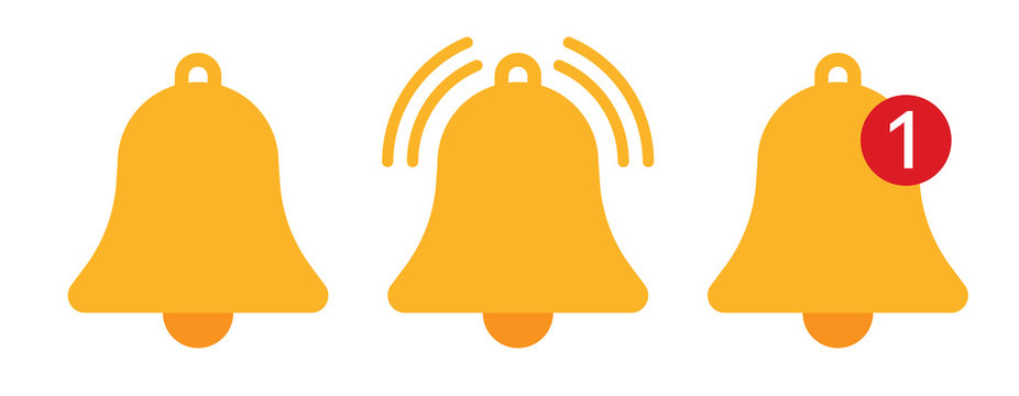 Orange notification bell icons vector illustration