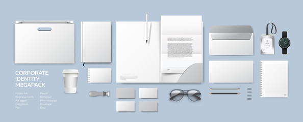 Corporate identity premium branding design. Stationery mockup vector megapack set. Template folder and A4 letter, visiting card, paper bag and envelope. Empty objects for presentation company style. Wall mural
