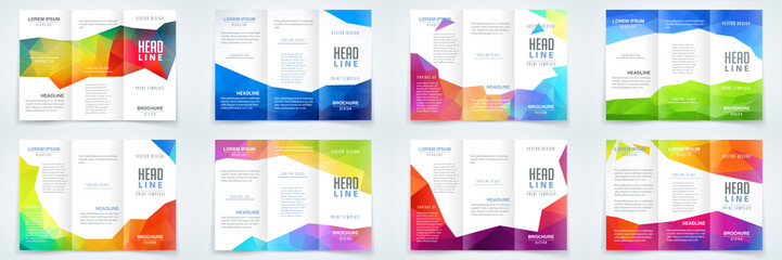 Triangle polygonal abstract brochure, booklet bundle design set