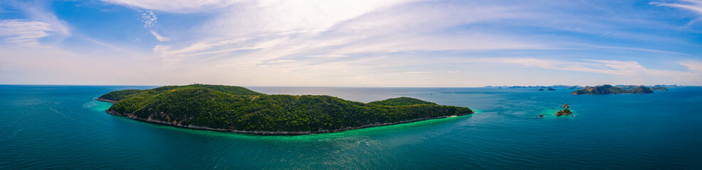 Aerial panorama view of beautiful island with blue ocean in Sattahip, Thailand
