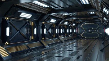Science background fiction interior room sci-fi spaceship corridors yellow.