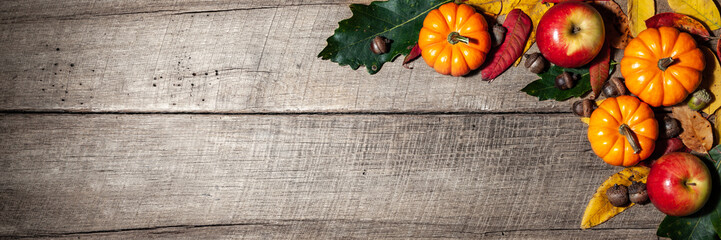 Fall Decorations On Wooden Table