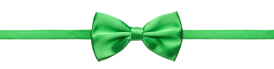 Green bow tie isolated on white background