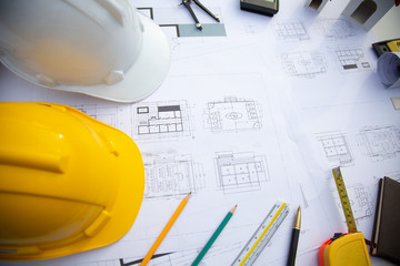 Architectural tool work site desk background construction project ideas concept, With drawing equipment concept