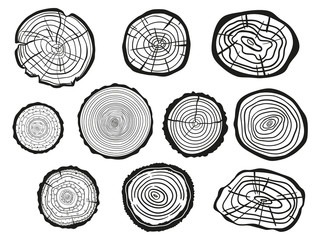 Tree rings on white. Set of cross section of the tree. Outline for polygraphy, banners, posters and other. Black and white illustration for work