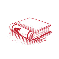 Ink Drawing of a Red Book Illustration