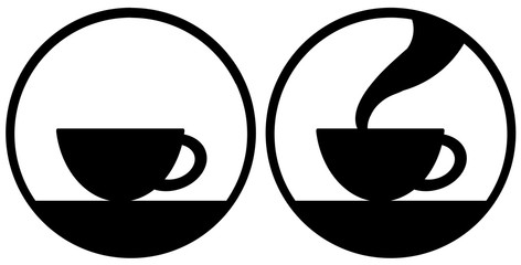 A cup of tea or coffee with steam and with out steam. Simply flat design isolated on white background. A mug icon graphic for web, logo, app, banner and etc.