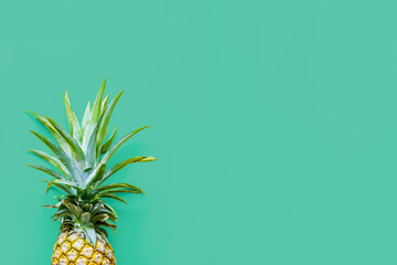 Pineapple at the green solid drop with place for text. Trendy modern colorful background. Horizontal