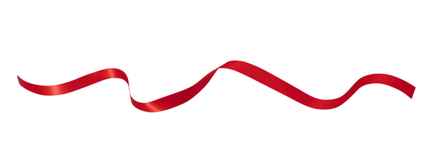Red ribbon isolated on white background,clipping path