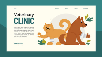 Design for vet clinic, pet care, medicine, veterinary hospital. Vector illustration with happy healthy dog and cat for banner, brochure, flyer, landing page, layout, presentation, poster, post, advert